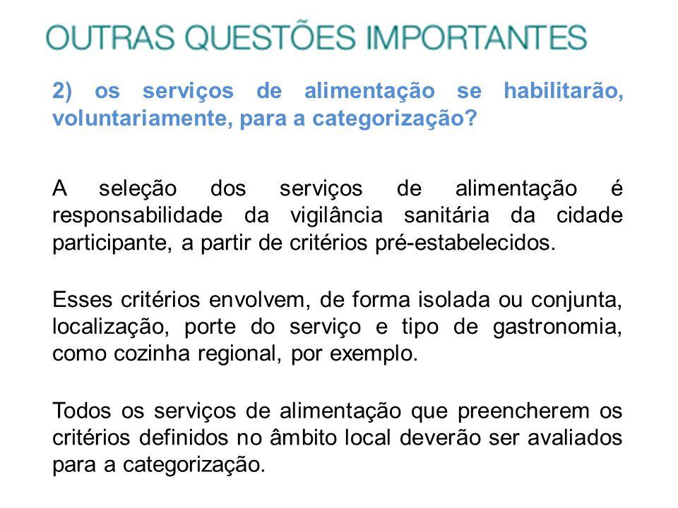 2) os serviços de alimentação se habilitarão, voluntariamente, para a categorização