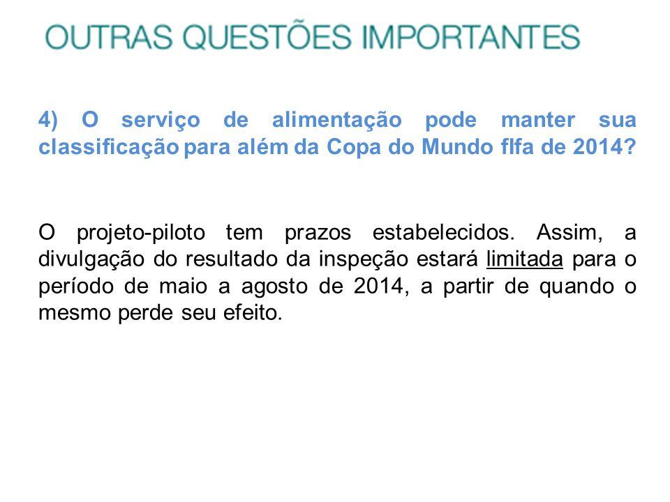 4) O serviço de alimentação pode manter sua classificação para além da Copa do Mundo fIfa de 2014