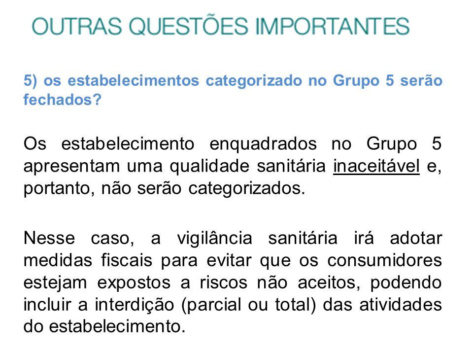 5) os estabelecimentos categorizado no Grupo 5 serão fechados