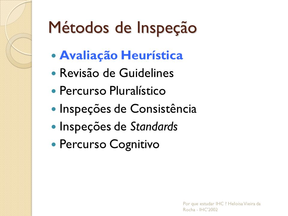 Métodos de Inspeção Avaliação Heurística Revisão de Guidelines