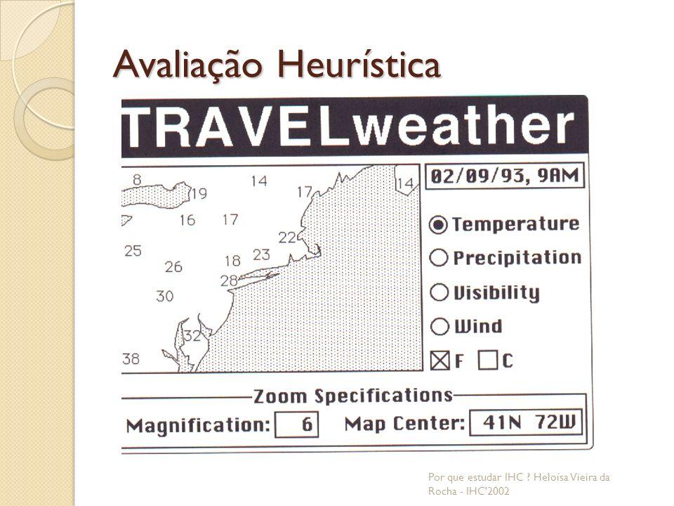 Avaliação Heurística Por que estudar IHC Heloísa Vieira da Rocha - IHC 2002
