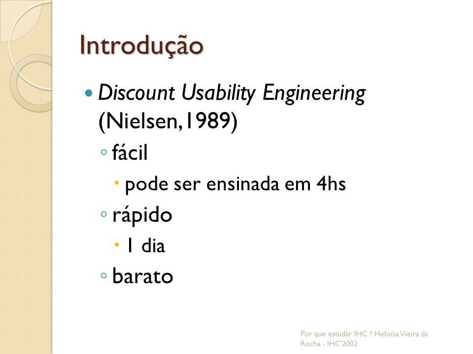 Introdução Discount Usability Engineering (Nielsen,1989) fácil rápido
