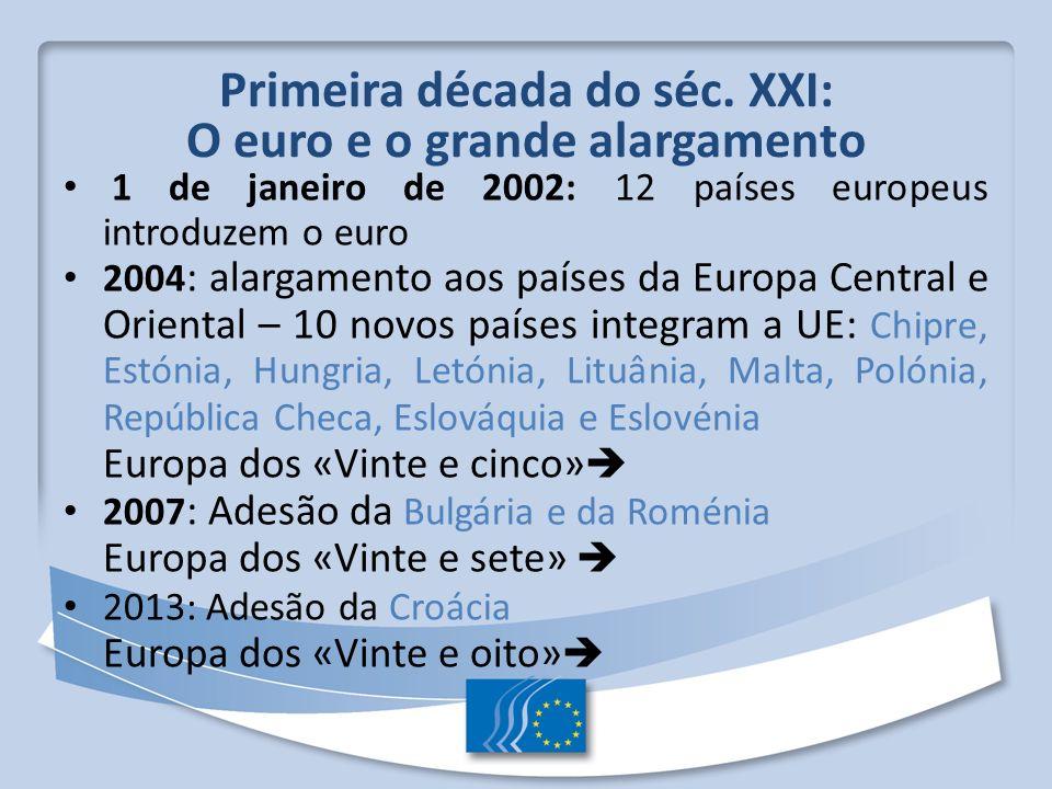 Primeira década do séc. XXI: O euro e o grande alargamento