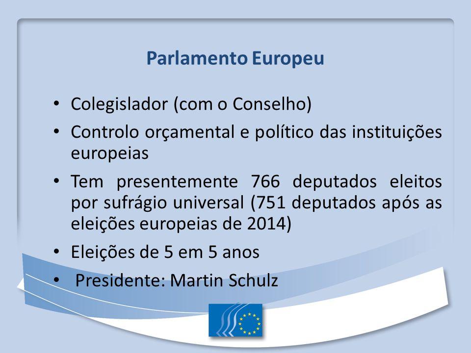 Parlamento Europeu Colegislador (com o Conselho)
