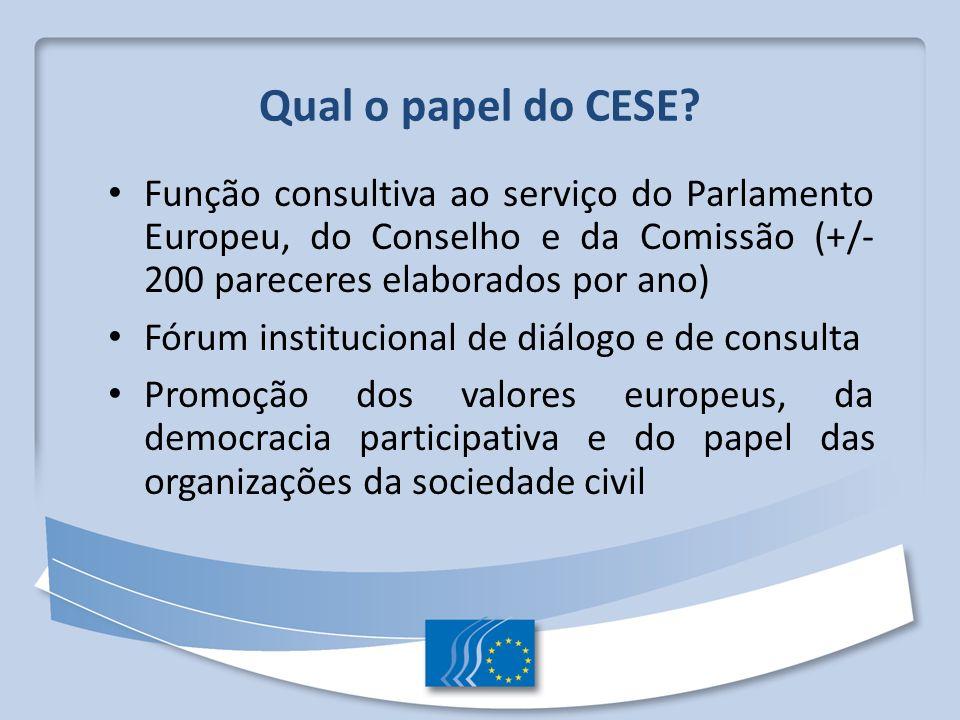 Qual o papel do CESE Função consultiva ao serviço do Parlamento Europeu, do Conselho e da Comissão (+/- 200 pareceres elaborados por ano)