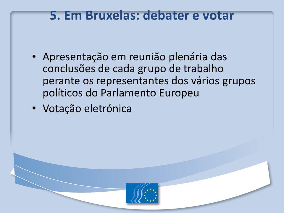 5. Em Bruxelas: debater e votar