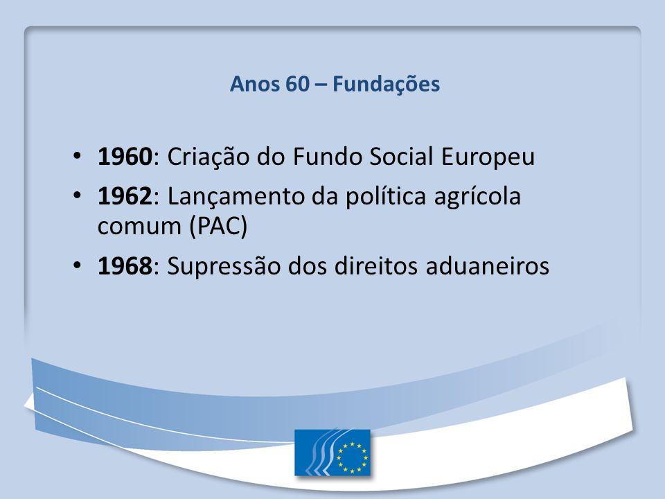 Anos 60 – Fundações 1960: Criação do Fundo Social Europeu