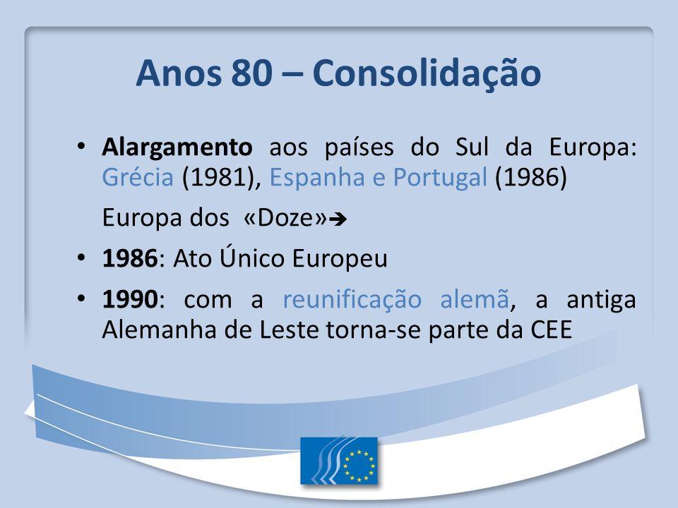 Anos 80 – Consolidação Alargamento aos países do Sul da Europa: Grécia (1981), Espanha e Portugal (1986)