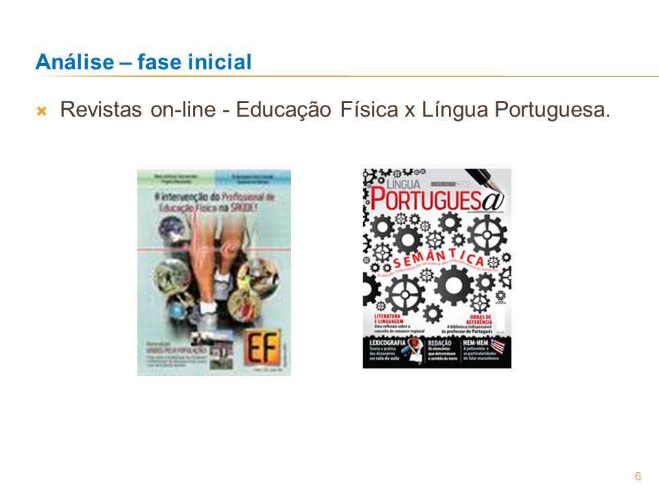 Análise – fase inicial Revistas on-line - Educação Física x Língua Portuguesa.