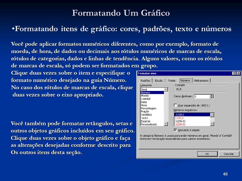 Formatando itens de gráfico: cores, padrões, texto e números