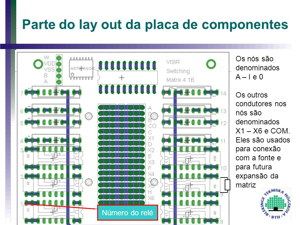 Parte do lay out da placa de componentes
