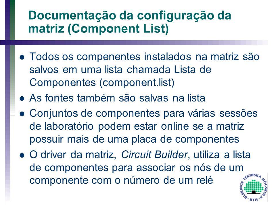 Documentação da configuração da matriz (Component List)