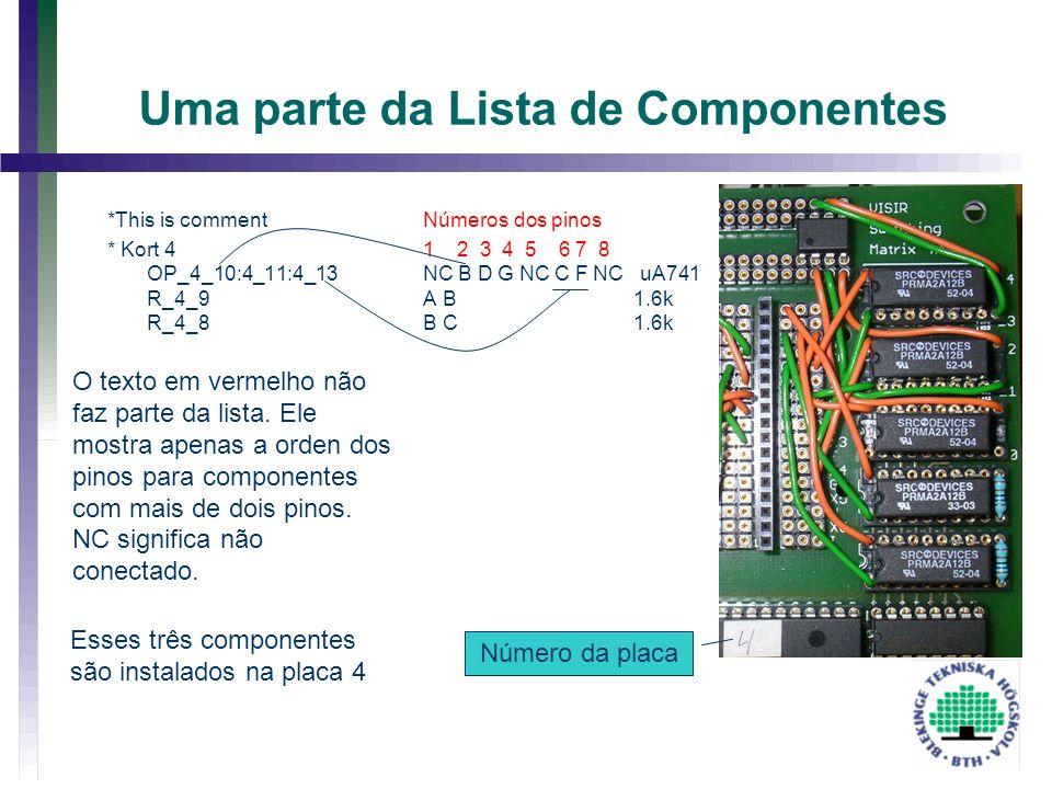 Uma parte da Lista de Componentes