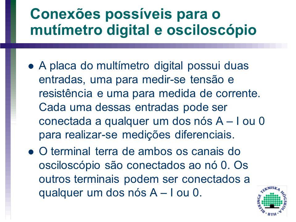 Conexões possíveis para o mutímetro digital e osciloscópio