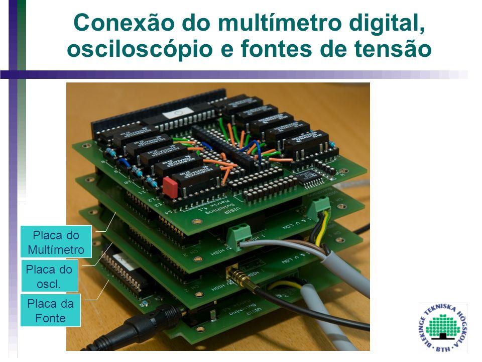 Conexão do multímetro digital, osciloscópio e fontes de tensão