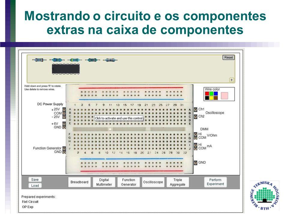 Mostrando o circuito e os componentes extras na caixa de componentes