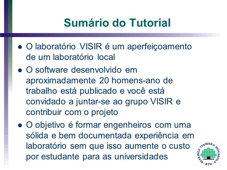 Sumário do Tutorial O laboratório VISIR é um aperfeiçoamento de um laboratório local.