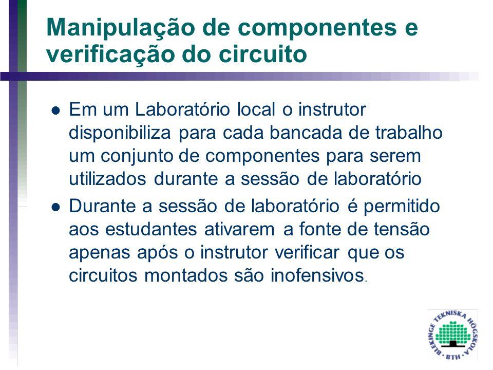 Manipulação de componentes e verificação do circuito