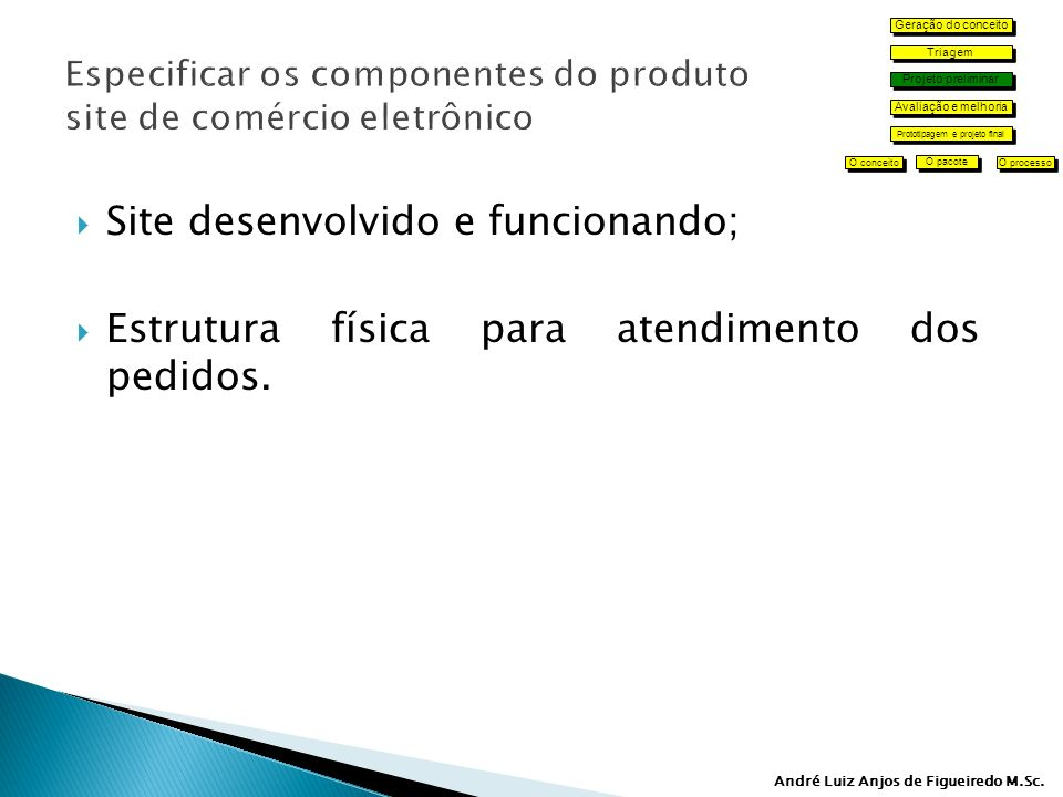 Especificar os componentes do produto site de comércio eletrônico
