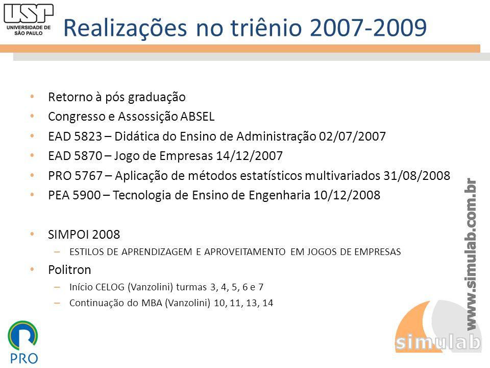 Realizações no triênio 2007-2009