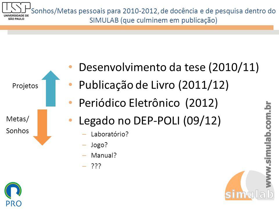 Desenvolvimento da tese (2010/11) Publicação de Livro (2011/12)