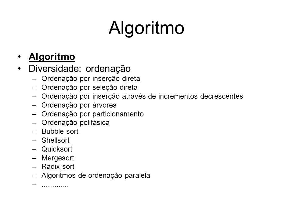 Algoritmo Algoritmo Diversidade: ordenação
