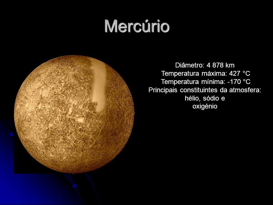 Mercúrio Diâmetro: 4 878 km Temperatura máxima: 427 °C