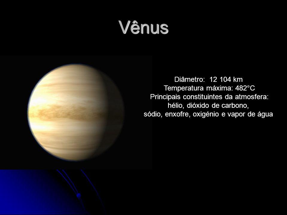 Vênus Diâmetro: 12 104 km Temperatura máxima: 482°C