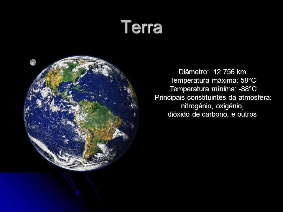Terra Diâmetro: 12 756 km Temperatura máxima: 58°C