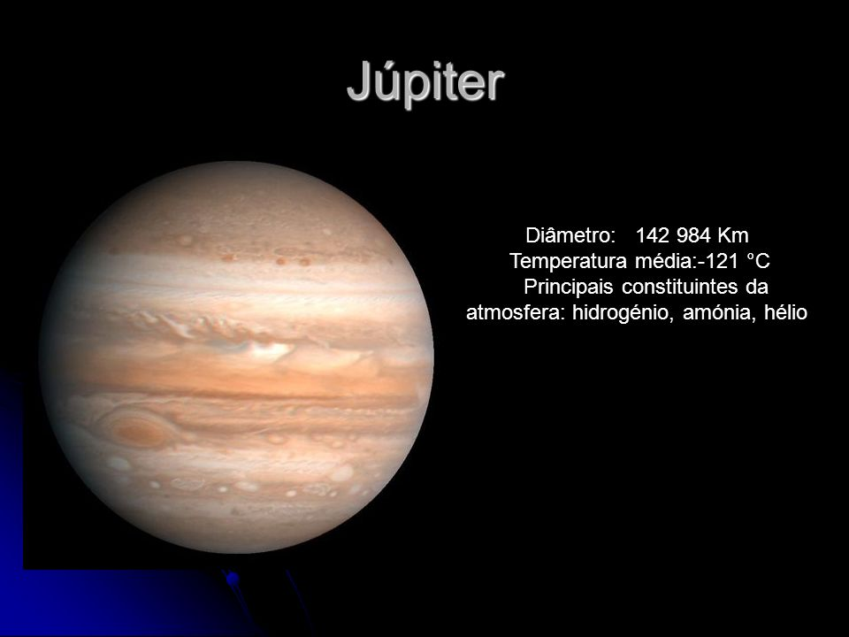 Júpiter Diâmetro: 142 984 Km Temperatura média:-121 °C