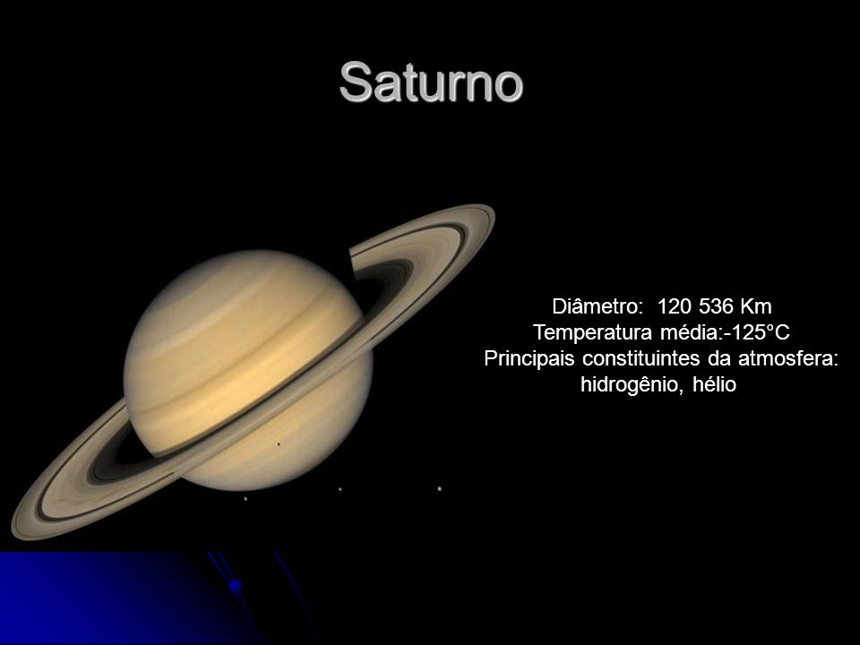 Saturno Diâmetro: 120 536 Km Temperatura média:-125°C