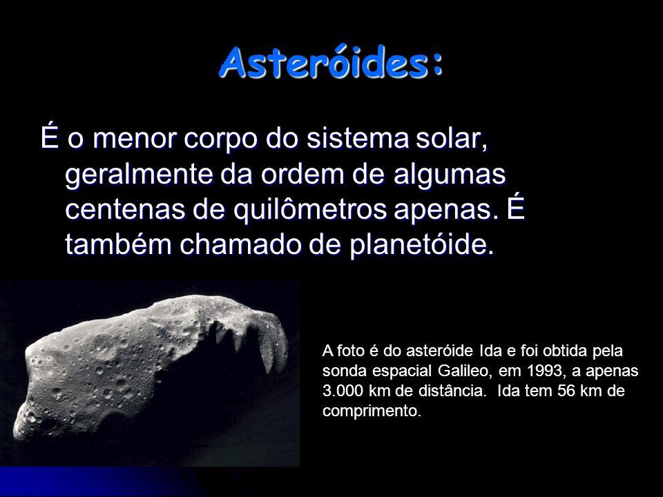 Asteróides: É o menor corpo do sistema solar, geralmente da ordem de algumas centenas de quilômetros apenas. É também chamado de planetóide.