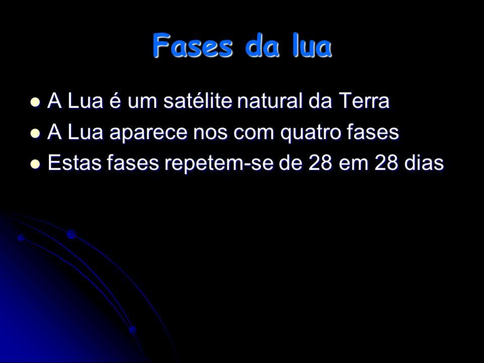 Fases da lua A Lua é um satélite natural da Terra