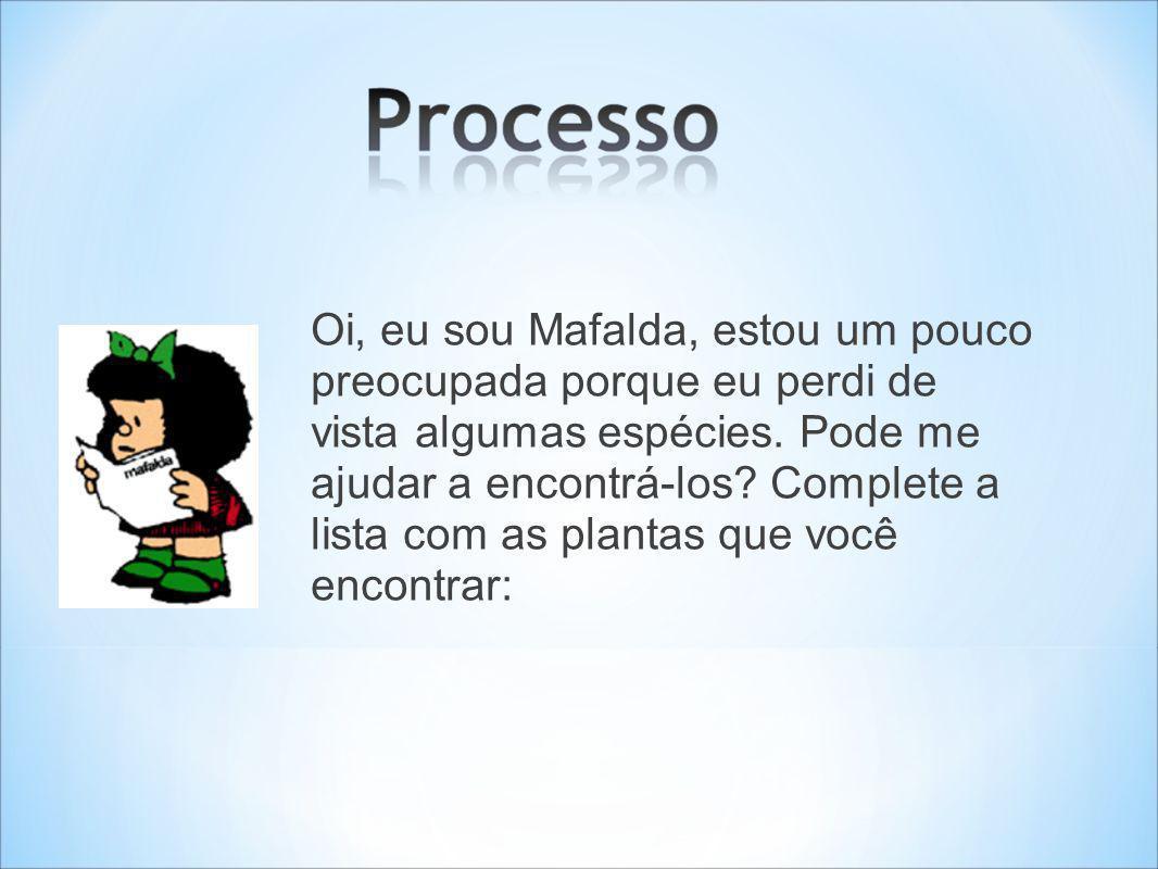 Oi, eu sou Mafalda, estou um pouco preocupada porque eu perdi de vista algumas espécies.