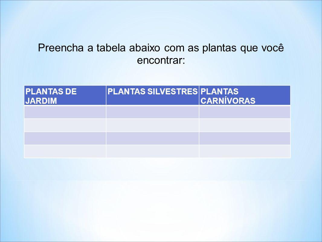 Preencha a tabela abaixo com as plantas que você encontrar: