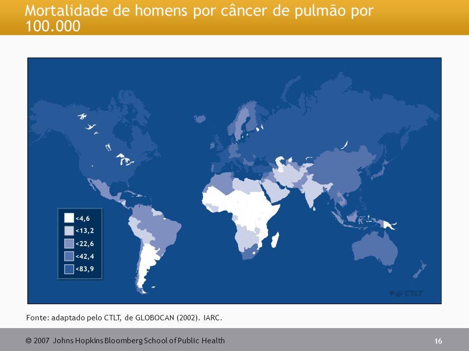 Mortalidade de homens por câncer de pulmão por 100.000