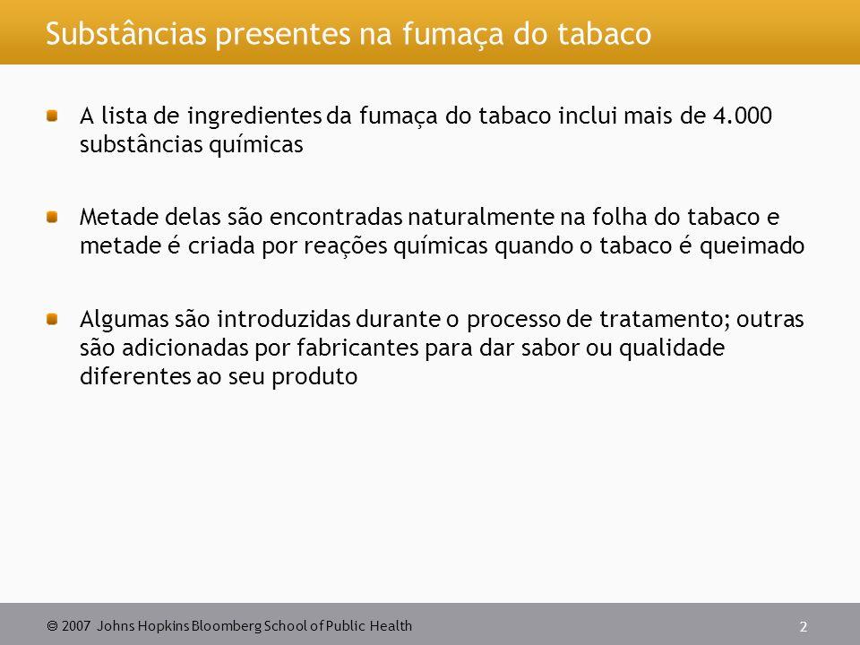 Substâncias presentes na fumaça do tabaco