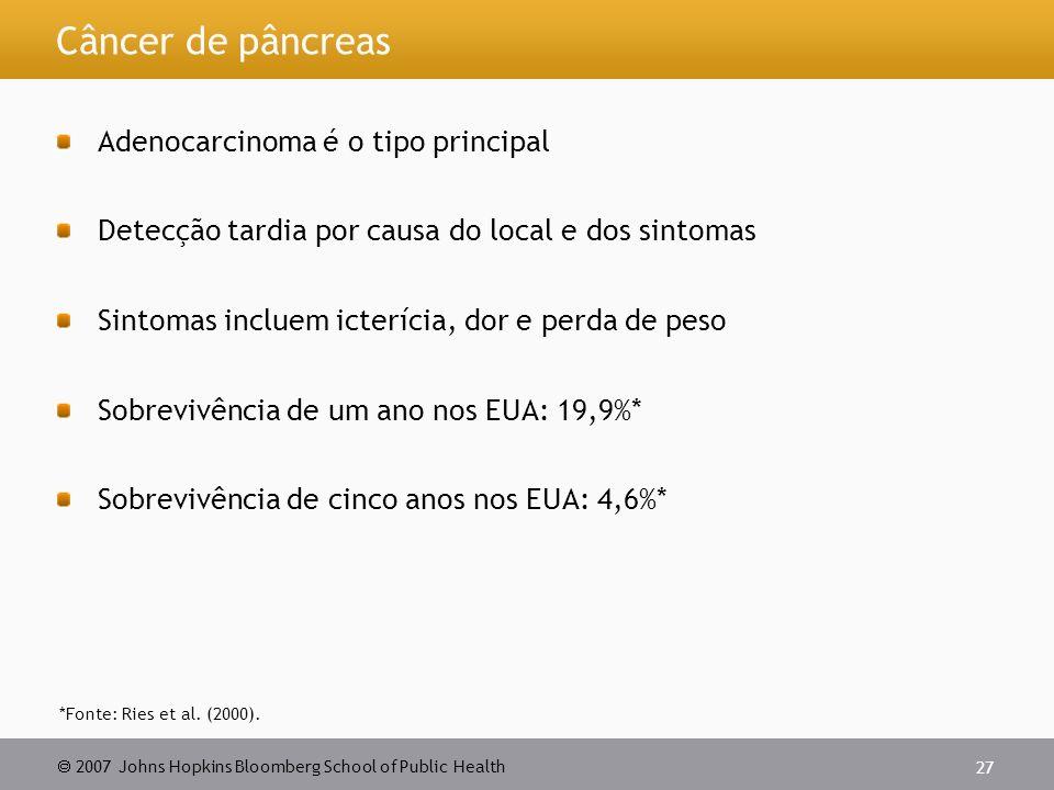 Câncer de pâncreas Adenocarcinoma é o tipo principal
