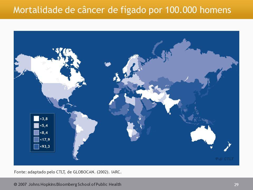 Mortalidade de câncer de fígado por 100.000 homens