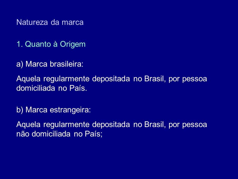Natureza da marca 1. Quanto à Origem. a) Marca brasileira: Aquela regularmente depositada no Brasil, por pessoa domiciliada no País.