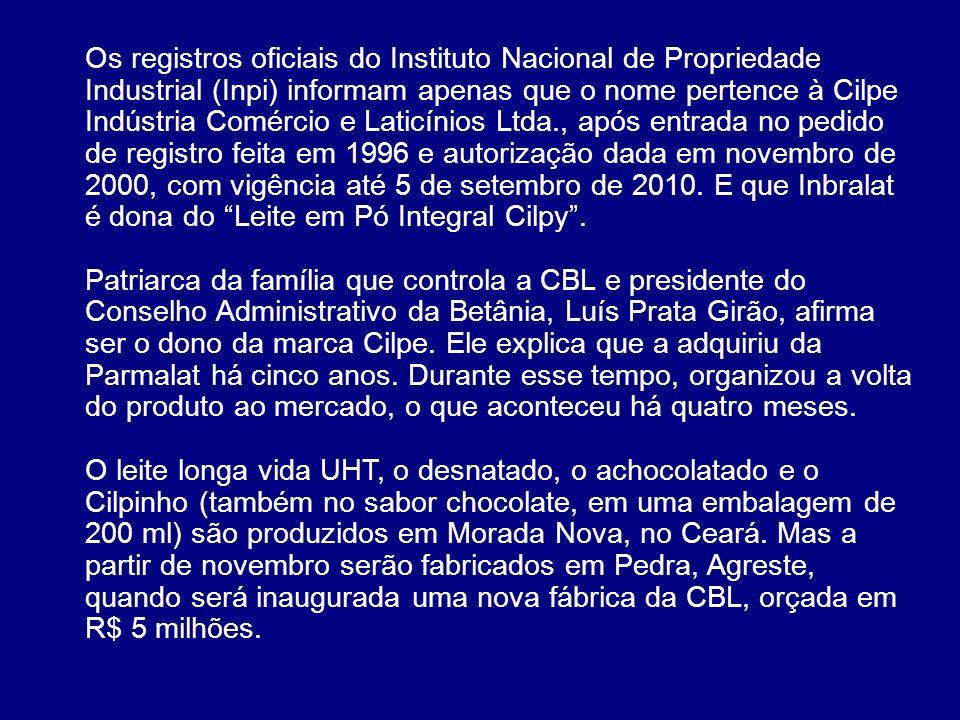 Os registros oficiais do Instituto Nacional de Propriedade Industrial (Inpi) informam apenas que o nome pertence à Cilpe Indústria Comércio e Laticínios Ltda., após entrada no pedido de registro feita em 1996 e autorização dada em novembro de 2000, com vigência até 5 de setembro de 2010. E que Inbralat é dona do Leite em Pó Integral Cilpy .
