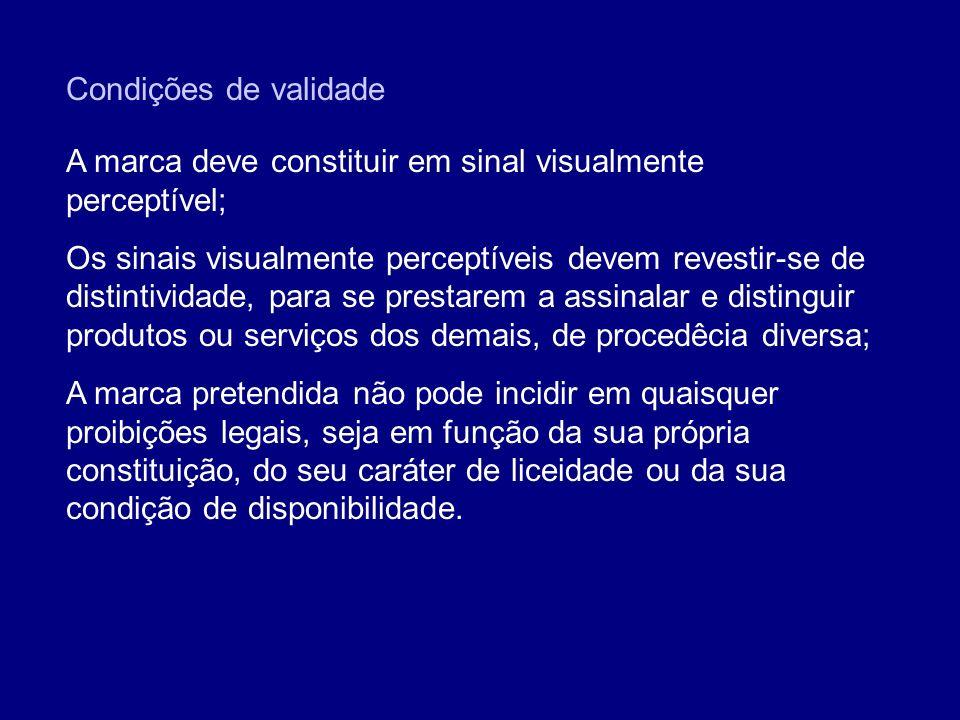 Condições de validade A marca deve constituir em sinal visualmente perceptível;