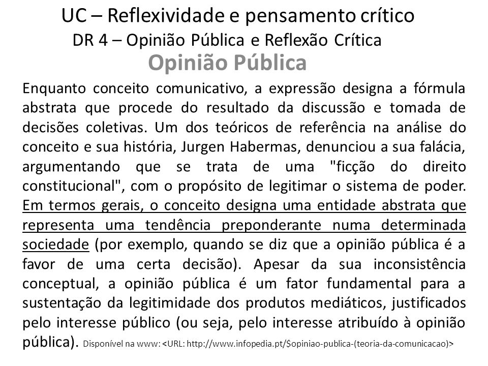 UC – Reflexividade e pensamento crítico