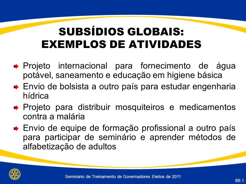 SUBSÍDIOS GLOBAIS: EXEMPLOS DE ATIVIDADES