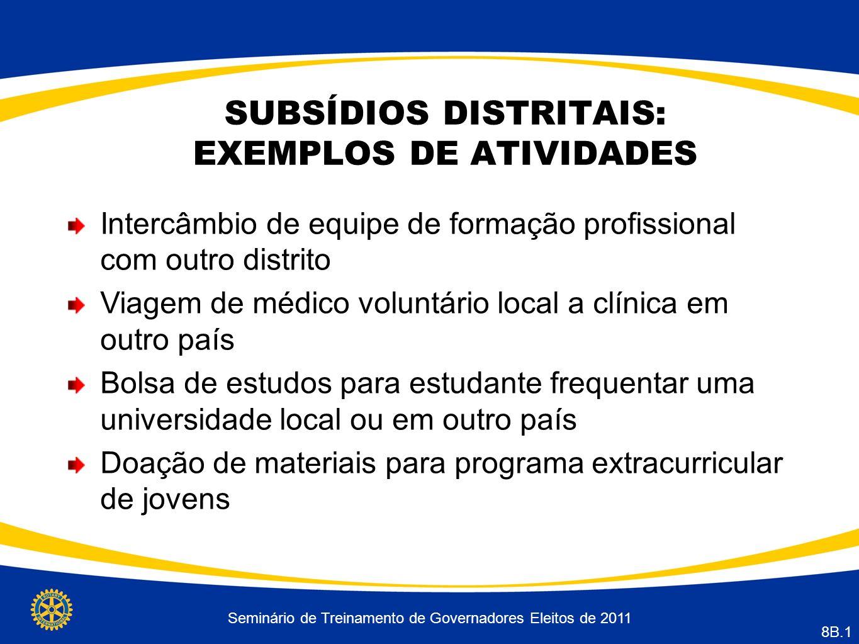 SUBSÍDIOS DISTRITAIS: EXEMPLOS DE ATIVIDADES