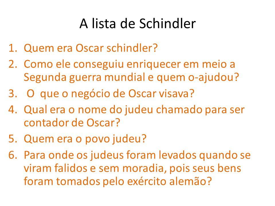 A lista de Schindler Quem era Oscar schindler