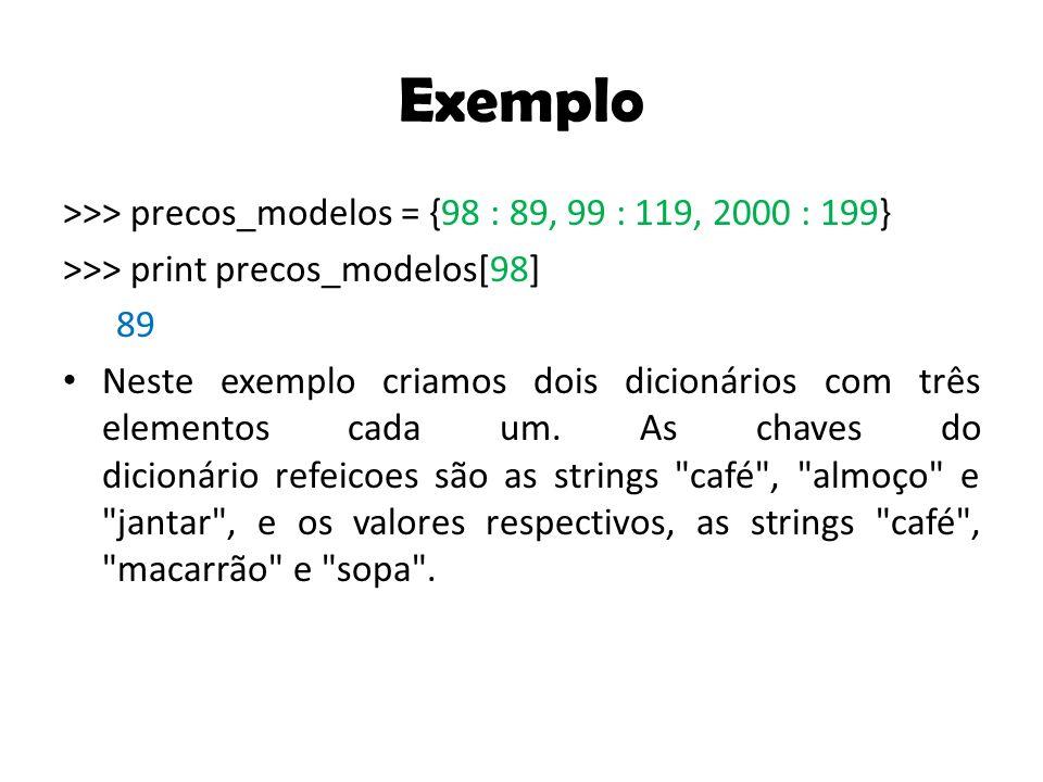 Exemplo >>> precos_modelos = {98 : 89, 99 : 119, 2000 : 199}