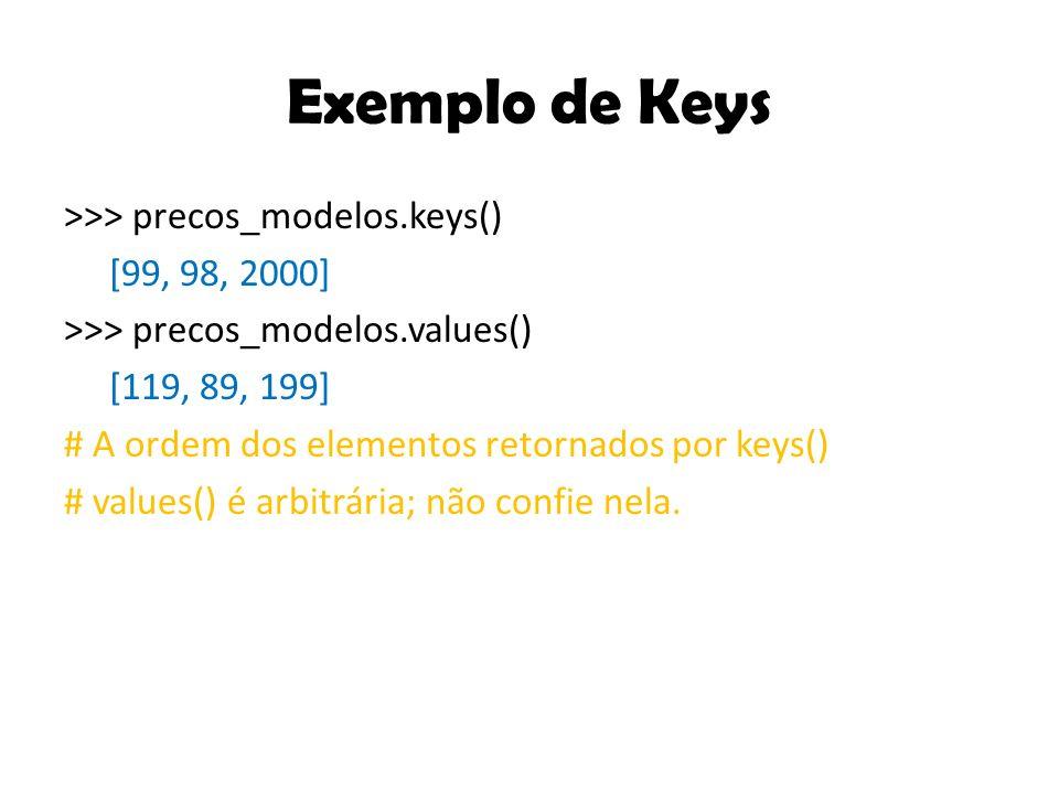 Exemplo de Keys