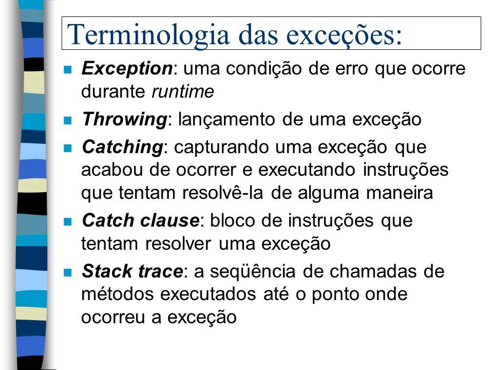 Terminologia das exceções: