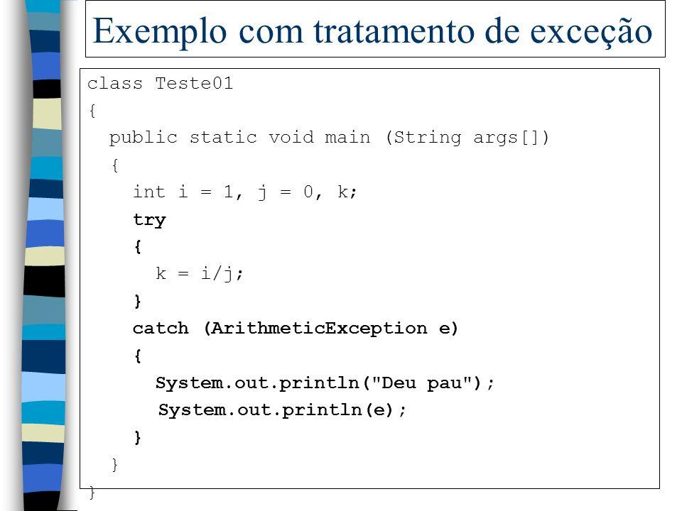 Exemplo com tratamento de exceção